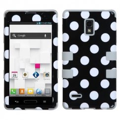 LG Optimus L9 White Polka Dots(Black)/Gray Hybrid Case
