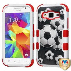 Samsung Galaxy Core Prime Soccer Ball Collage/Red Hybrid Case