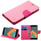 HTC 10 Pink Pattern/Hot Pink Liner Wallet with Card Slot
