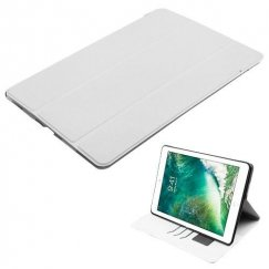 AppleiPad iPad Pro 10.5 White Silk Texture Wallet with Transparent Frosted Tray