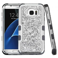 Samsung Galaxy S7 Edge Silver Plating Frame Mini Crystals Back/Iron Gray Vivid Hybrid Case