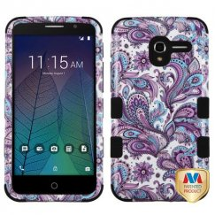 Alcatel Stellar / Tru 5065 Purple European Flowers/Black Hybrid Case