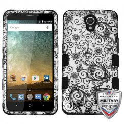 ZTE Avid Plus / Maven 2 Black Four-Leaf Clover (2D Silver)/Black Hybrid Phone Case - Military Grade