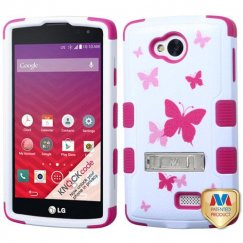 LG Tribute Butterfly Dancing/Hot Pink Hybrid Case with Stand