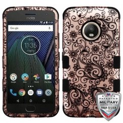 Motorola Moto G5 Plus Black Four-Leaf Clover (2D Rose Gold)/Black Hybrid Case Military Grade