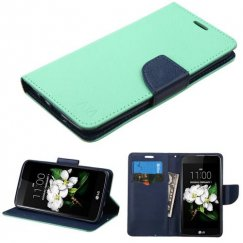 LG K7 Teal Green Pattern/Dark Blue Liner wallet with Card Slot