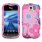 HTC myTouch 4G Slide Colorful Flowers Diamante Phone Protector Cover