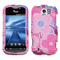 HTC myTouch 4G Slide Colorful Flowers Diamante Case