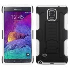 Samsung Galaxy Note 4 Black/White Car Armor Stand Case - Rubberized