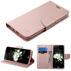 LG K7 Rose Gold Pattern/Rose Gold Liner wallet with Card Slot