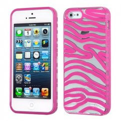 Apple iPhone 5c Transparent Clear/Solid Hot Pink(Zebra Skin) Gummy Cover