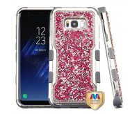 Samsung Galaxy S8 Silver Plating Frame?? Pink Mini Crystals Back/Iron Gray Vivid Hybrid Protector Cover