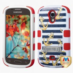 Samsung Galaxy Light Nautical Stripes/Red Hybrid Case with Stand
