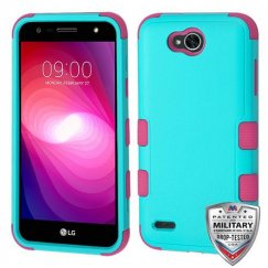 LG X Power 2 Natural Teal Green/Electric Pink Hybrid Case Military Grade