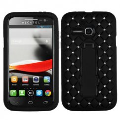 Alcatel One Touch Evolve Black/Black Symbiosis Stand Case with Diamonds