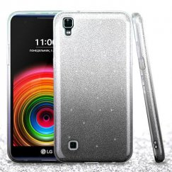 LG X Power / K6 Black Gradient Glitter Hybrid Case