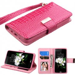 LG K7 Hot Pink Crocodile-Embossed Wallet