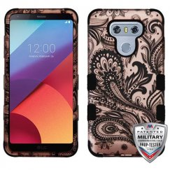 LG G6 Phoenix Flower (2D Rose Gold)/Black Hybrid Case Military Grade
