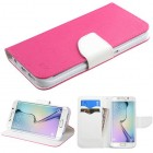 Samsung Galaxy S6 Edge Hot Pink Pattern/White Liner wallet with Card Slot