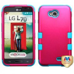 LG Optimus L70 Titanium Solid Hot Pink/Tropical Teal Hybrid Case