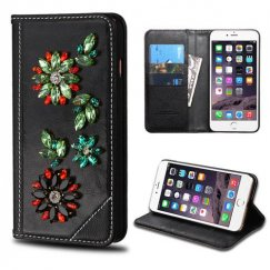 Apple iPhone 6/6s Plus Black Genuine Leather Wallet with 3D Crystal Flowers