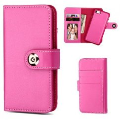 Apple iPhone 8 Hot Pink Detachable Magnetic 2-in-1 Wallet Back Cover Leather Folio Flip
