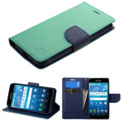 Kyocera Hydro Reach / Hydro View Teal Green Pattern/Dark Blue Liner wallet with Card Slot