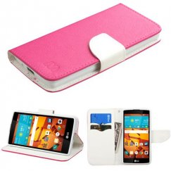 LG LS751 Volt 2 Hot Pink Pattern/White Liner wallet with Card Slot