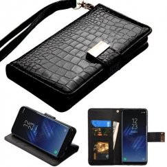 Samsung Galaxy S8 Black Crocodile-Embossed Wallet