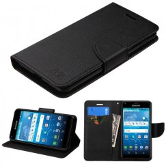 Kyocera Hydro Reach / Hydro View Black Pattern/Black Liner wallet with Card Slot