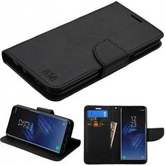 Samsung Galaxy S8 Black Pattern/Black Liner wallet with Card Slot
