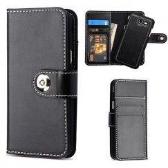 Samsung Galaxy J3 Black Detachable Magnetic 2-in-1 Wallet Back Cover Leather Folio Flip