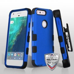 Google Pixel Titanium Dark Blue/Black Hybrid Case - Military Grade with Black Horizontal Holster