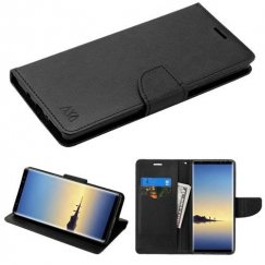 Samsung Galaxy Note 8 Black Pattern/Black Liner wallet with Card Slot