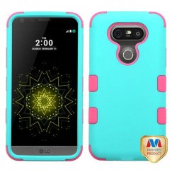 LG G5 Rubberized Teal Green/Electric Pink Hybrid Case