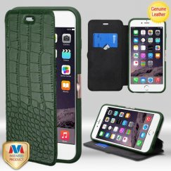 Apple iPhone 6/6s Plus Forest Green Crocodile-Embossed Genuine Leather Wallet with Natural Black/Forest Green Tray