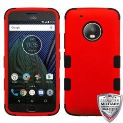 Motorola Moto G5 Plus Titanium Red/Black Hybrid Case Military Grade