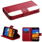 Samsung Galaxy S2 Red/White Book-Style Wallet (with Red tray & card slot)