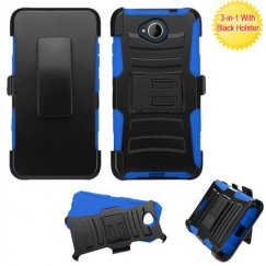 Nokia Lumia 650 Black/ Blue Advanced Armor Stand Case with Black Holster