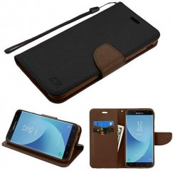Samsung Galaxy J7 Black Pattern/Brown Liner wallet (with card slot)(84H) -WP