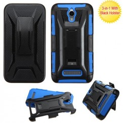 ZTE Obsidian Black/Dark Blue Advanced Armor Stand Case with Black Holster