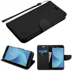 Samsung Galaxy J7 Black Pattern/Black Liner wallet (with card slot)(84A) -WP