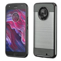 Motorola Moto X4 Black/Black Brushed Hybrid Case with Carbon Fiber Accent
