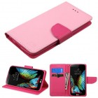 LG K10 Pink Pattern/Hot Pink Liner Wallet with Card Slot