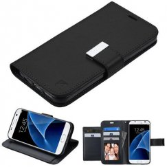 Samsung Galaxy S7 Black/Black PU Leather Wallet with extra card slots