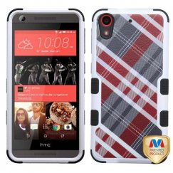 HTC Desire 626 Maroon/Gray Diagonal Plaid/Black Hybrid Case