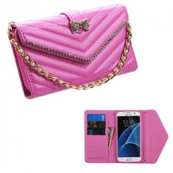 Samsung Galaxy S7 Edge Hot Pink Premium Quilted Wallet with Bracelet