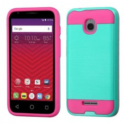 Alcatel Ideal / Streak / Dawn / Acquire Teal Green/Hot Pink Brushed Hybrid Case