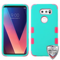 LG V30 Rubberized Teal Green/Electric Pink Hybrid Case Military Grade