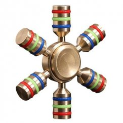 Tri-Colored Six-Wing Metal Spinner